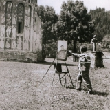 43 Pictorul la Manastirea Voronet (fotografie facuta de regizorul de film documentar Ion Bostan), 1963